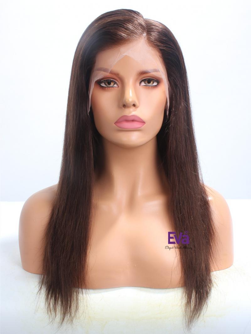 Medium Dark Brown Color Straight Virgin Human Hair Full Lace Wig
