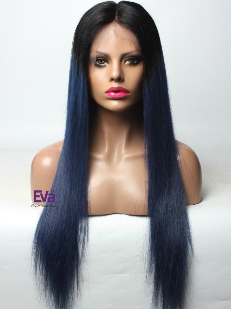 Midnight Blue Full Lace Virgin Human Hair Wig with Black Root