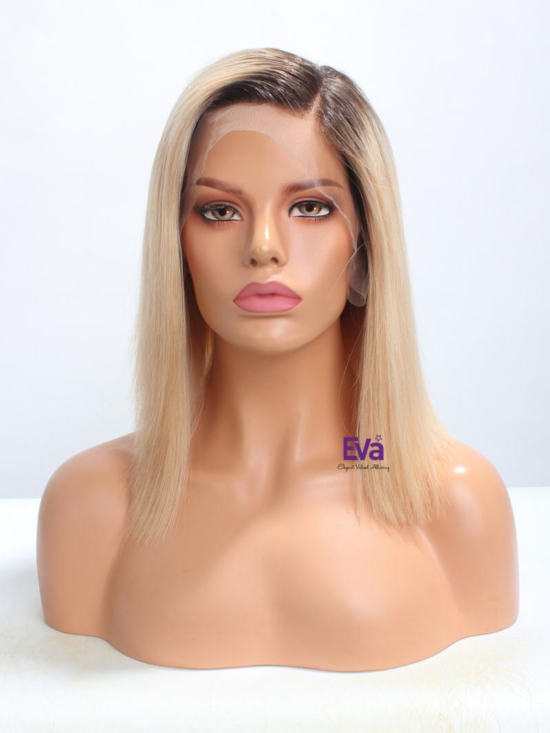 "Ready to Ship Blonde Bob Cut Pre-plucked Hairline 4"" Parting Lace Front Wig"