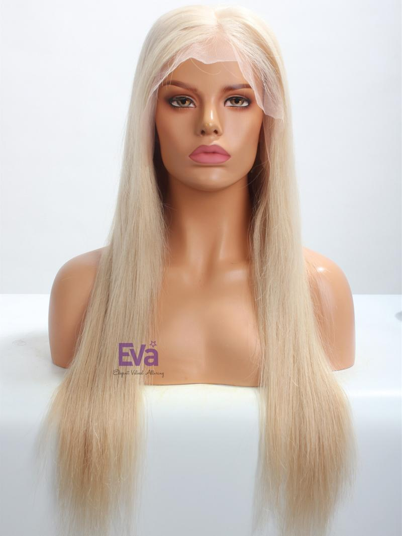 "22"" Straight Light Ash Blonde Silk Top Virgin Hair Full Lace Wig"