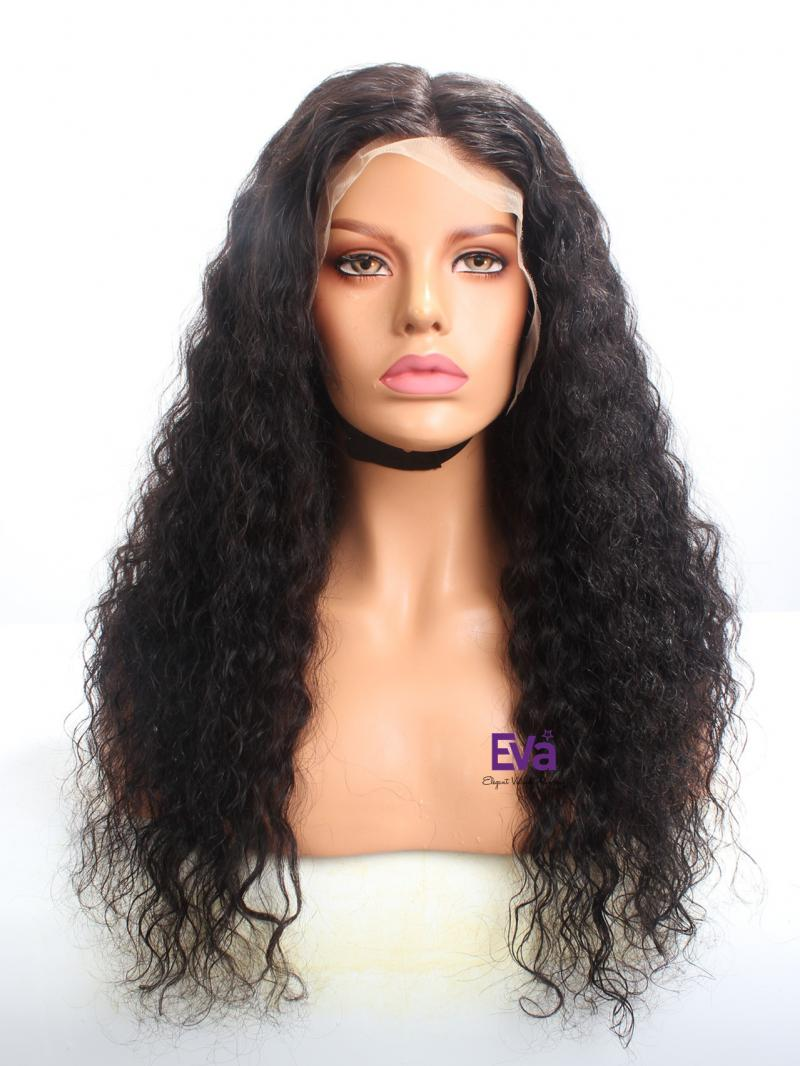 "Stocked Fake Scalp 20"" Natural Curly 13*6 Glueless Lace Front Wig"