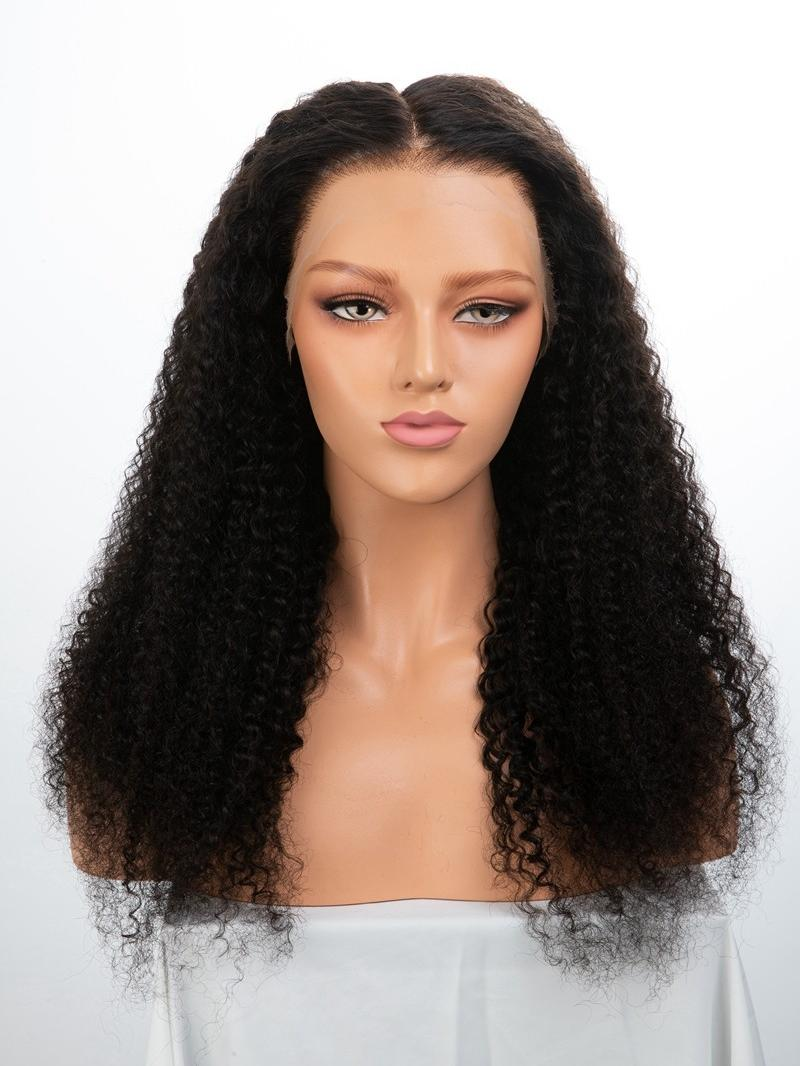 "24"" 150% Natural Black Curly Human Hair HD 6"" Lace Front Wig With Large Size"