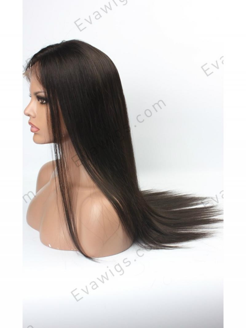 "20"" MEDIUM DARK BROWN 130% SILKY STRAIGHT FULL LACE"