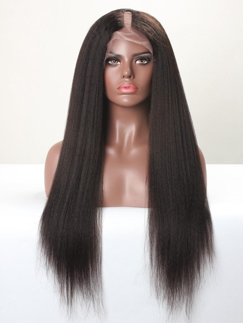 """20"""" OFF BLACK 130% YAKI STRAIGHT U-PART FULL LACE WIG WITH LARGE SIZE"""