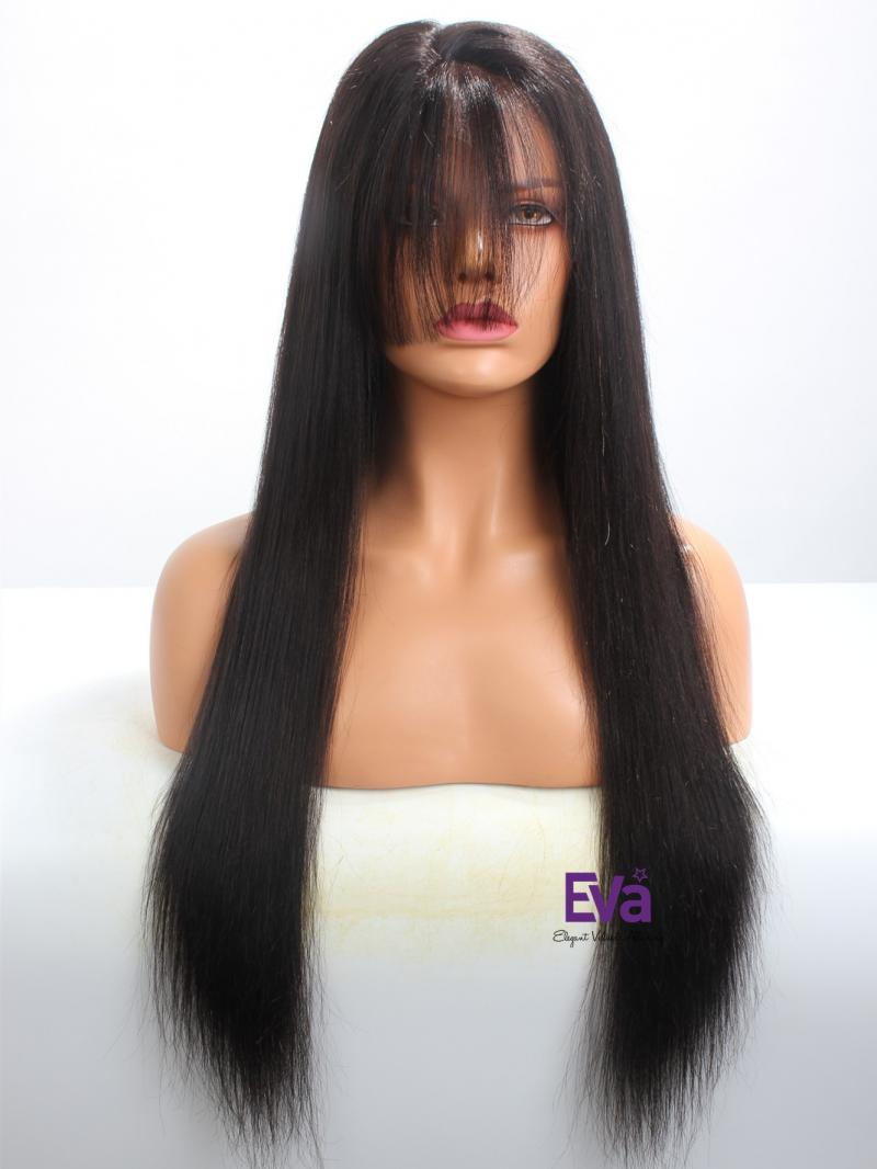 "Ready To Ship 24"" Yaki Straight Full Lace Wig With Bangs"
