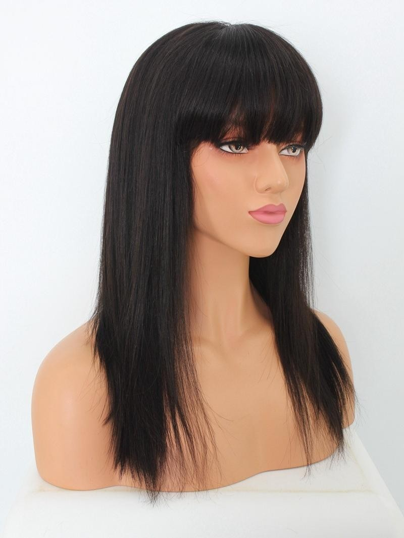 """14"""" 150% Natural Black Silky Straight Human Hair 4"""" Lace Front Wig With Petite Size"""