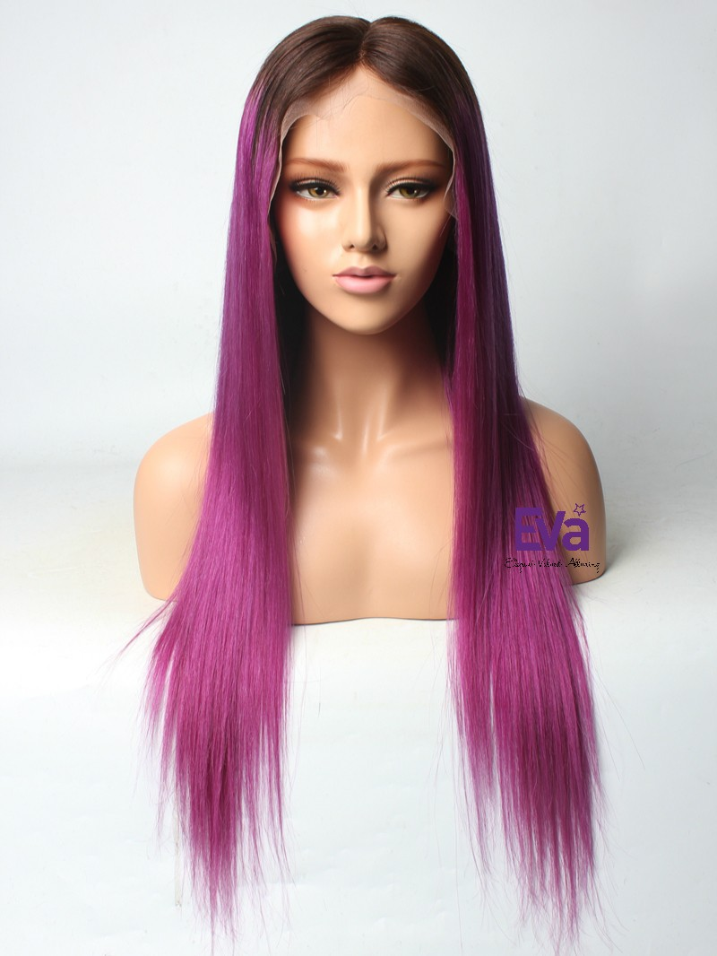 Purple Hair With Darkest Brown Root Color Custom 16 Quot 26