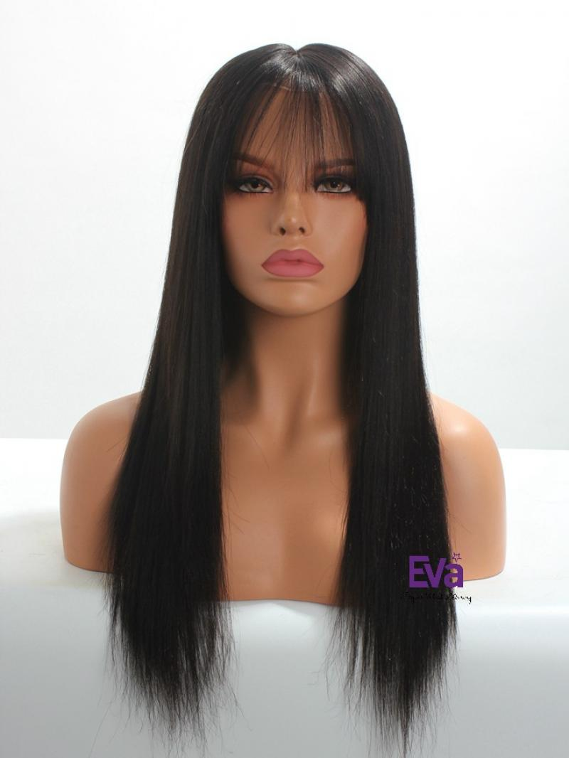 Yaki Straight Wispy Bangs Full Lace Human Hair Wig Stocked SK008