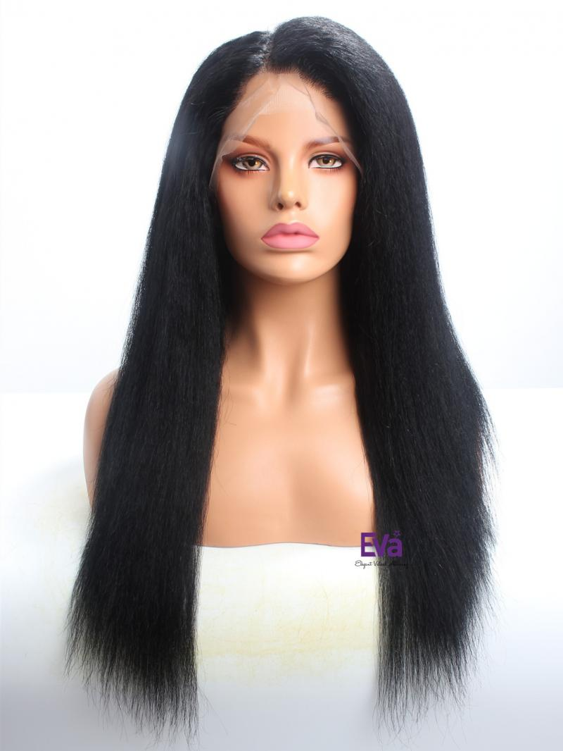 "Stocked Kinky Straight 22"" Long Full Lace Human Hair Wig"