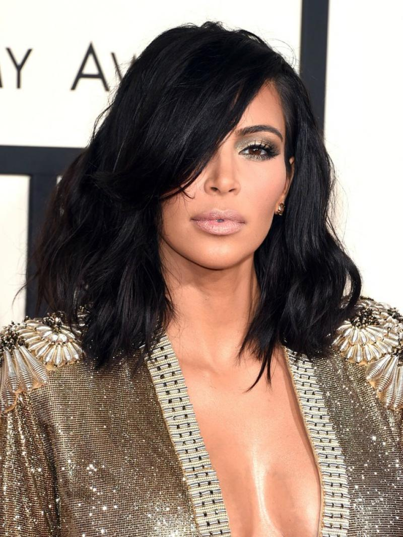 Kim K Inspired 2015 Grammy Medium Wavy Side Parted Full Lace Human Hair Lob