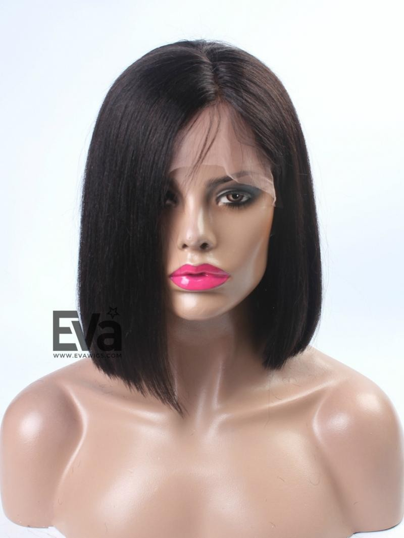 "12"" DARKEST BROWN SILKY STRAIGHT 3"" FRONT LACE PARTING WIG"