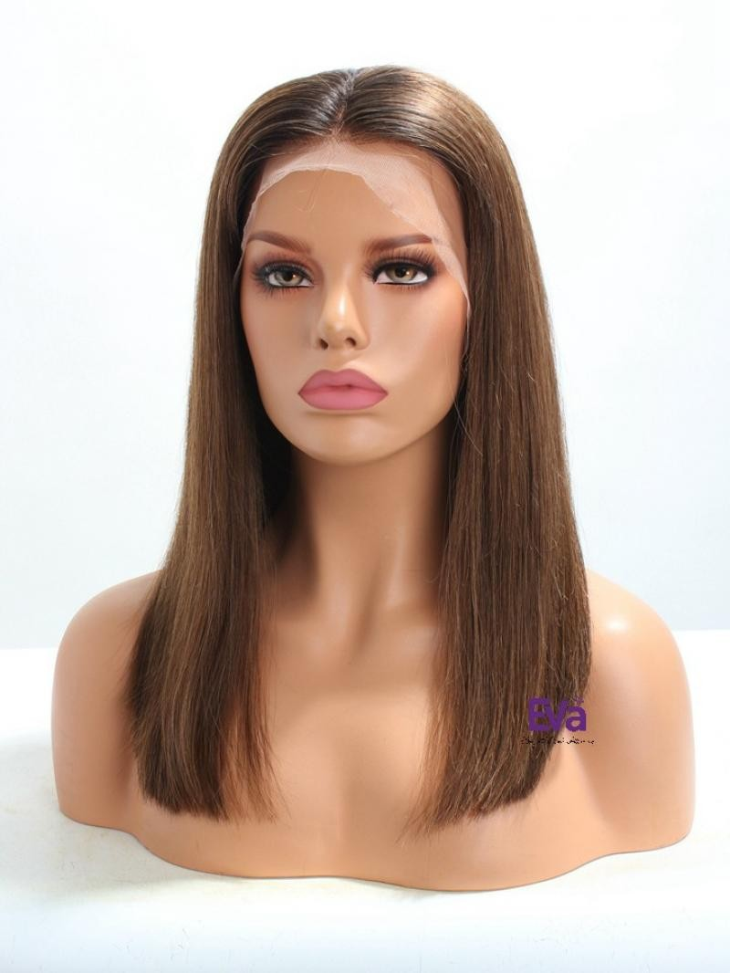 """16"""" 180% Customized Color Silky Straight Human Hair 3"""" Lace Front Wig"""