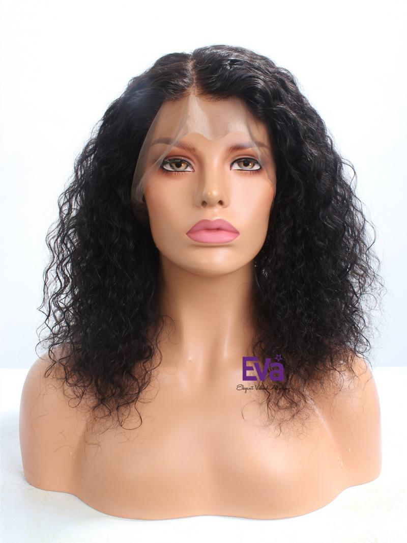 "14"" Soft Wavy Human Hair Reay To Ship Bob Cut 360 Lace Wig"