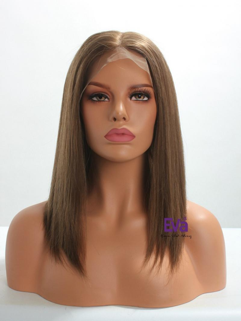 #6 Chestnut Brown Silk Top Full Lace Cap 100% Virgin Human Hair Bob Wig