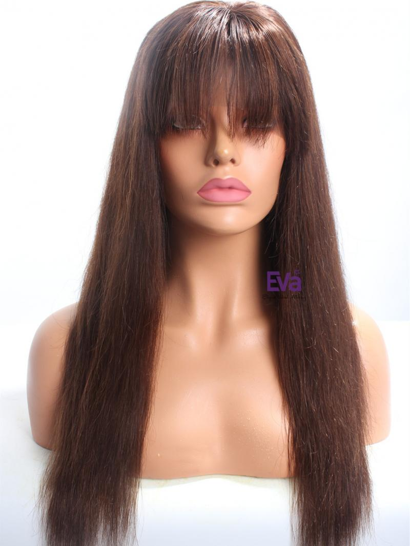 Medium Dark Brown Silky Straight Lace Front Wig With Bangs