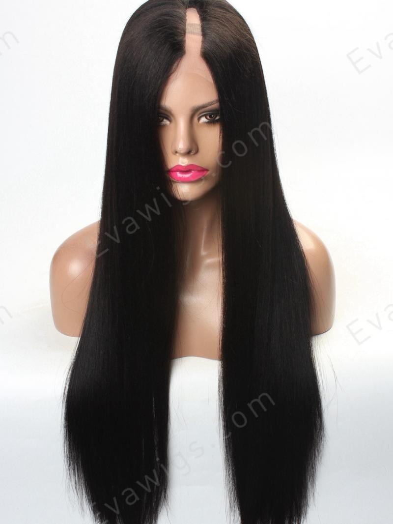 "26"" LONG STRAIGHT 150% DENSITY WAVY LEFT PART U-PART FULL LACE HUMAN HAIR WIG WITH LARGE SIZE"