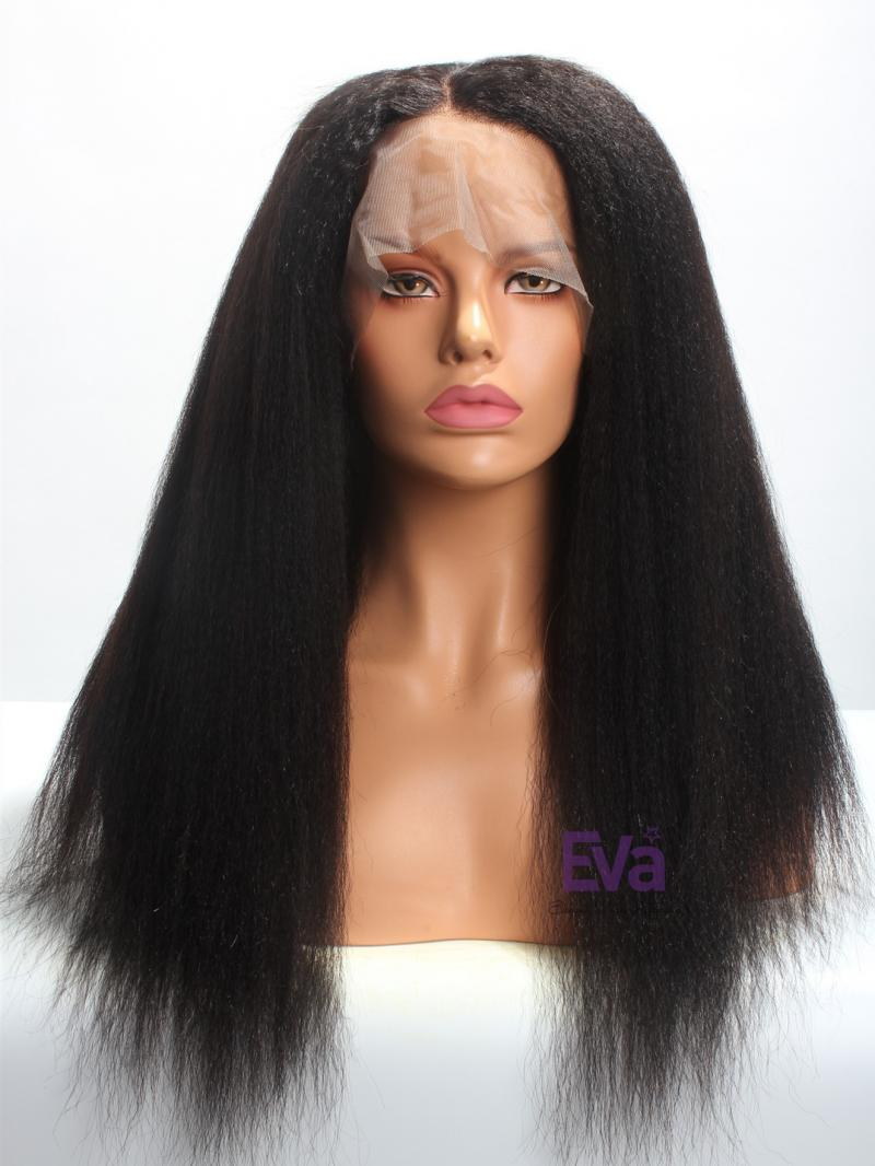 "18"" Kinky Straight Indian Remy Hair 4"" Parting Lace Front Wig"