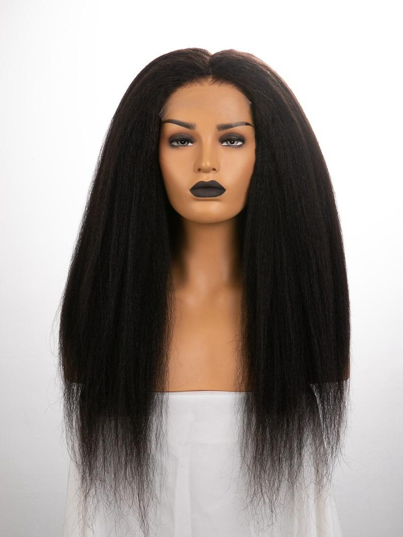 "22"" 180% Natural Black Kinky Straight Silk Top Human Hair HD Full Lace Wig With Custom Cap Size"