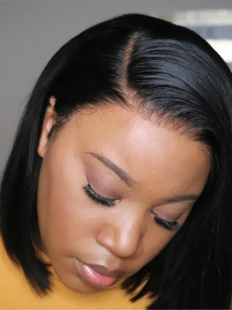 "10""-16"" Available Sleek Straight Short Bob Full Lace Virgin Human Hair Wig In Stock"