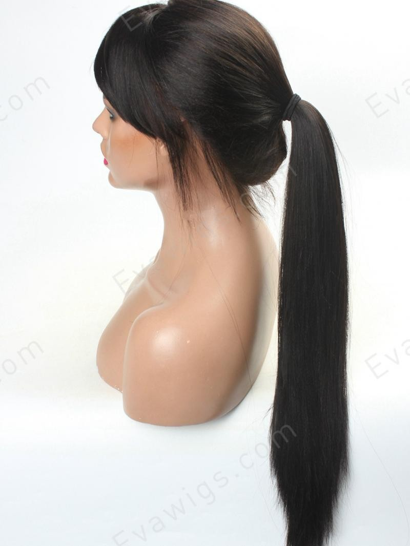"16"" 130% JET BLACK YAKI STRAIGHT FULL LACE WIG WITH SEE THROUGH BANGS"