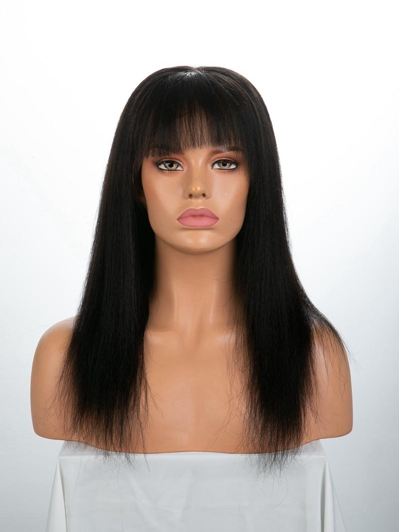 "14"" 130% Natural Black Yaki Straight Silk Top Human Hair Full Lace Wig With Bangs"