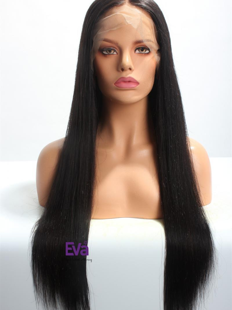 "Black 24"" 180% Density Straight 6"" Deep Parting Lace Front Wig"