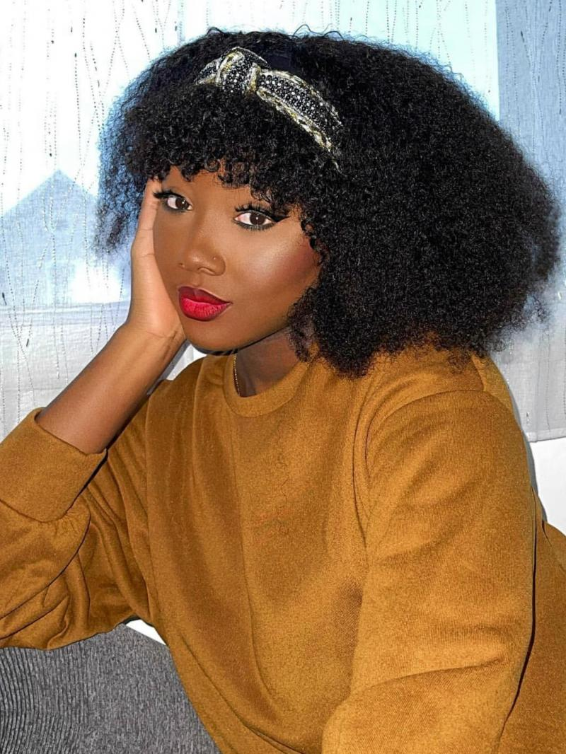 """New Arrival 8""""-22"""" Natural Black Curly Machine Made Headband Wig With Bangs"""