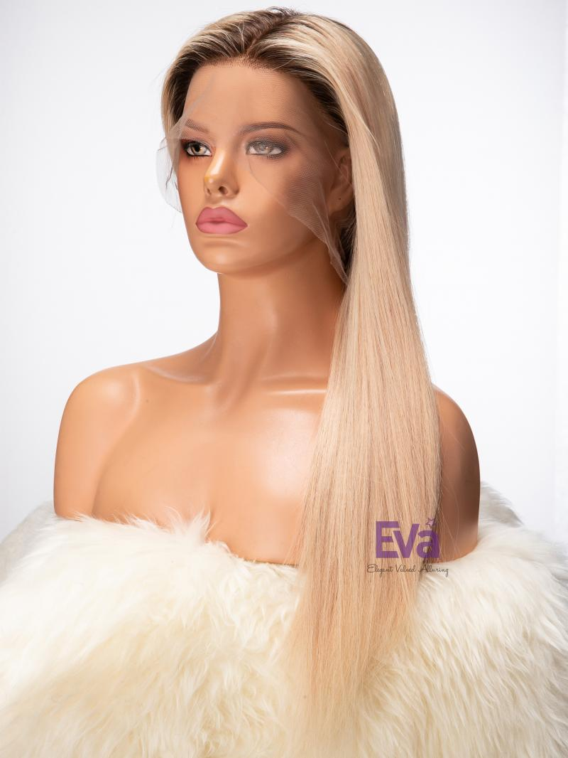 Brazilian Virgin Human Hair Blonde Full Lace Wig with Dark Root Custom Color Length and More