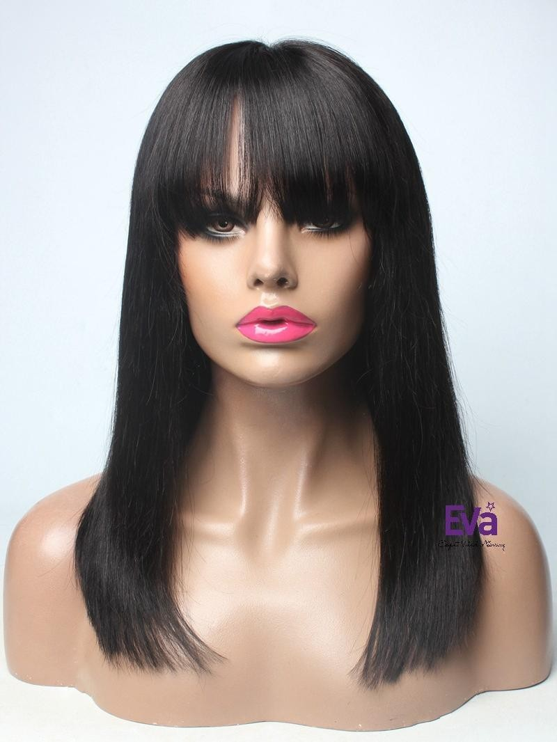 "16"" 130% Natural Black Yaki Straight Human Hair Full Lace Wig"