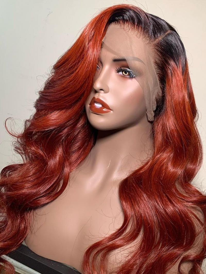 Reddish Ginger Color with Dark Root Costum Human Hair Wig