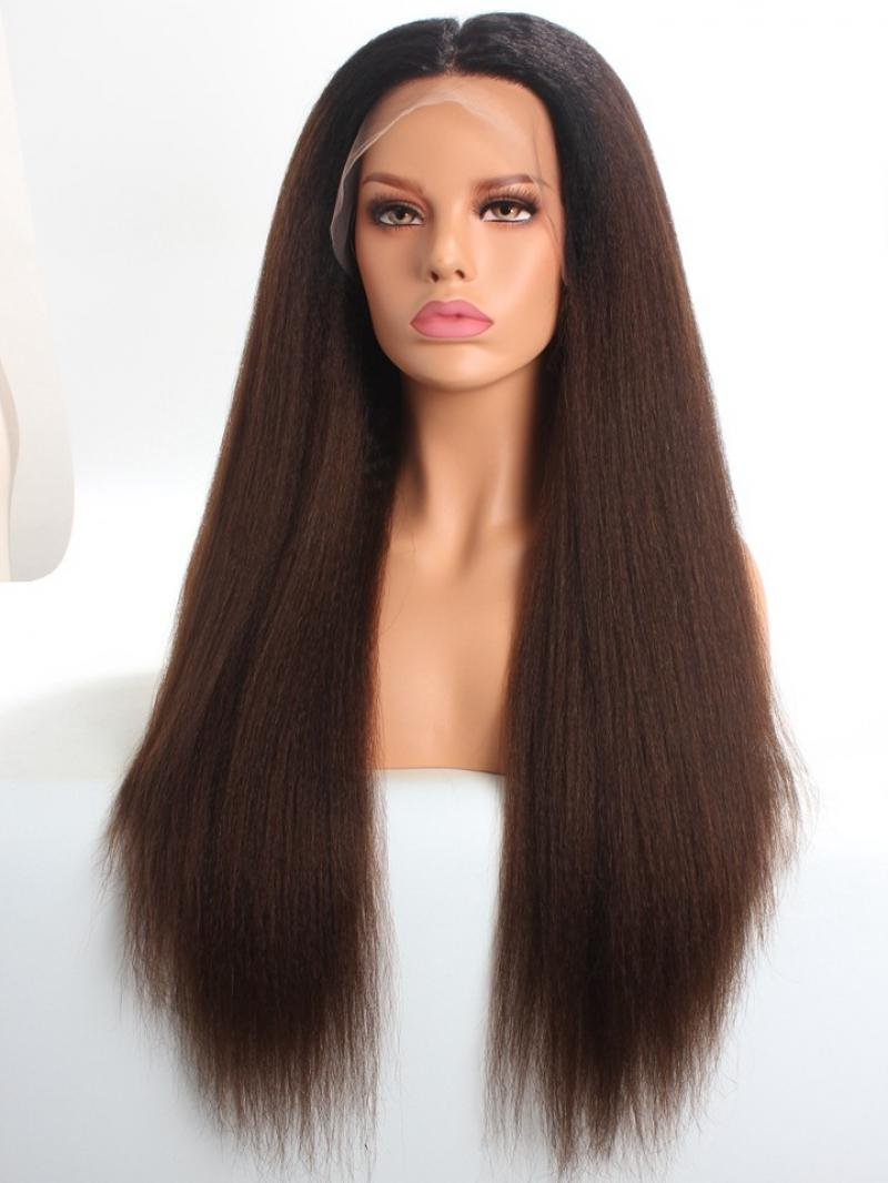 Ombre Color Kinky Straight Full Lace Human Hair Wig