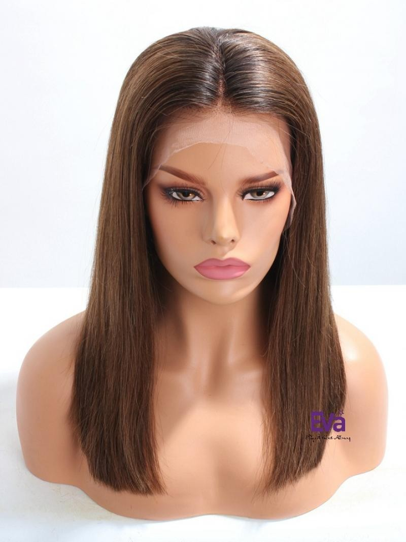 "16"" MEDIUM DARK WAVY FULL LACE PETITE SIZE WIG WITH 4*5 SILK TOP"