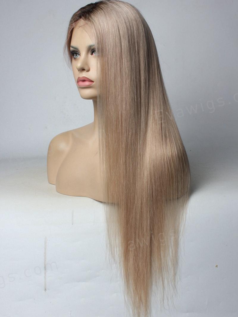 Custom Color Ash Blonde Full Lace Human Hair Wig Human
