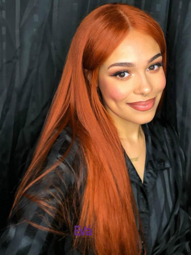 "Custom Color and Length 18""-22"" Available Light Copper Red Color #130 Virgin Human Hair 4"" Parting Lace Front Wig"