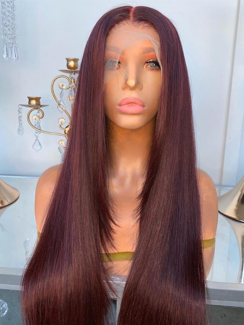 Classic Wine Red Human Hair Wig Custom Made
