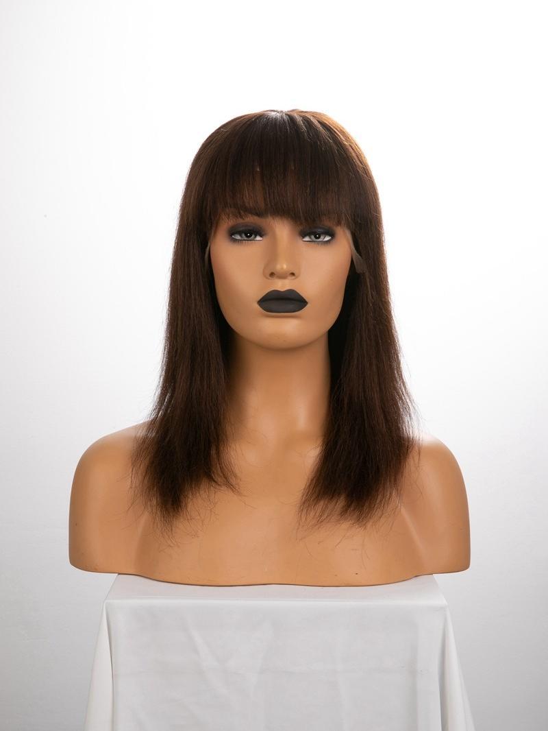 "12"" 130% Medium Dark Brown Yaki Straight Human Hair Full Lace Wig With Fake Scalp"
