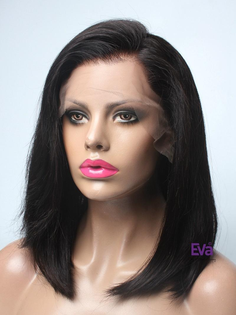 """12"""" DARKEST BROWN SILKY STRAIGHT FULL LACE PETITE SIZE WIG"""