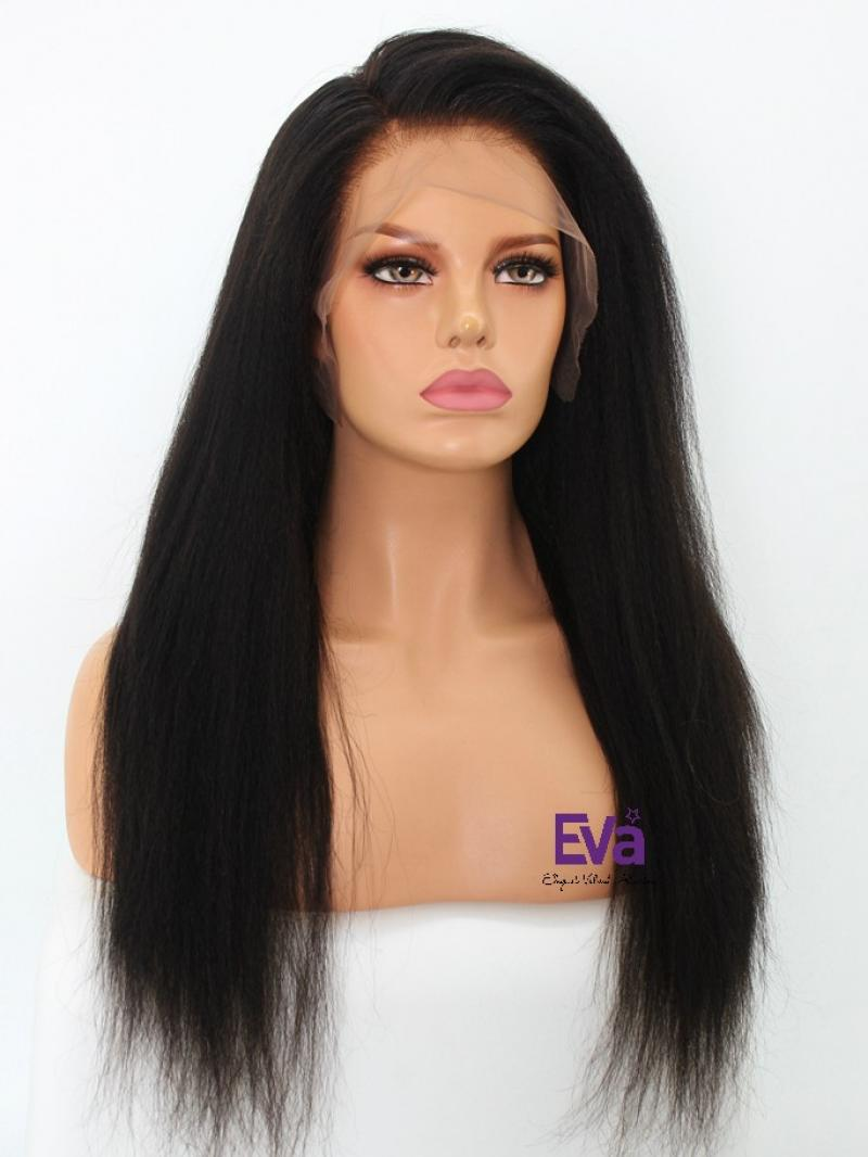 "Pre-made Fake Scalp Cap Virgin Hair Kinky Straight 6"" Parting Lace Front Wig 16"" - 24"""