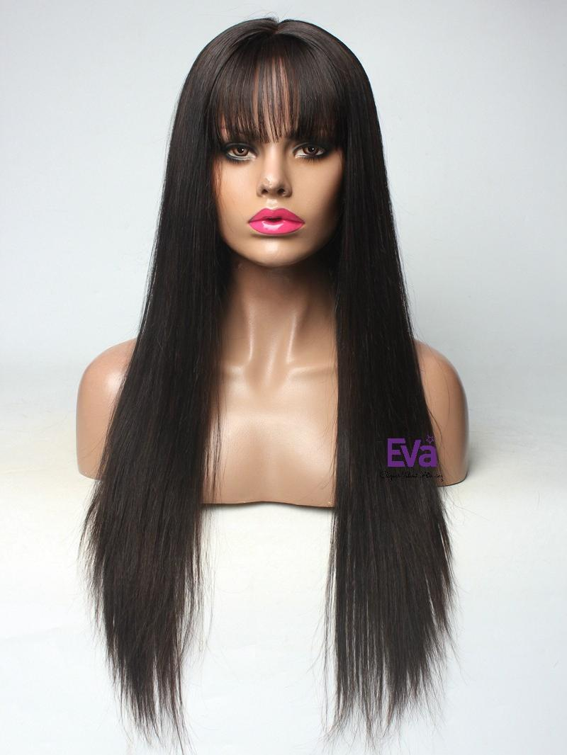 "Ready to Ship 22"" 150% Density See-through Bangs Lace Front Human Hair Wig"