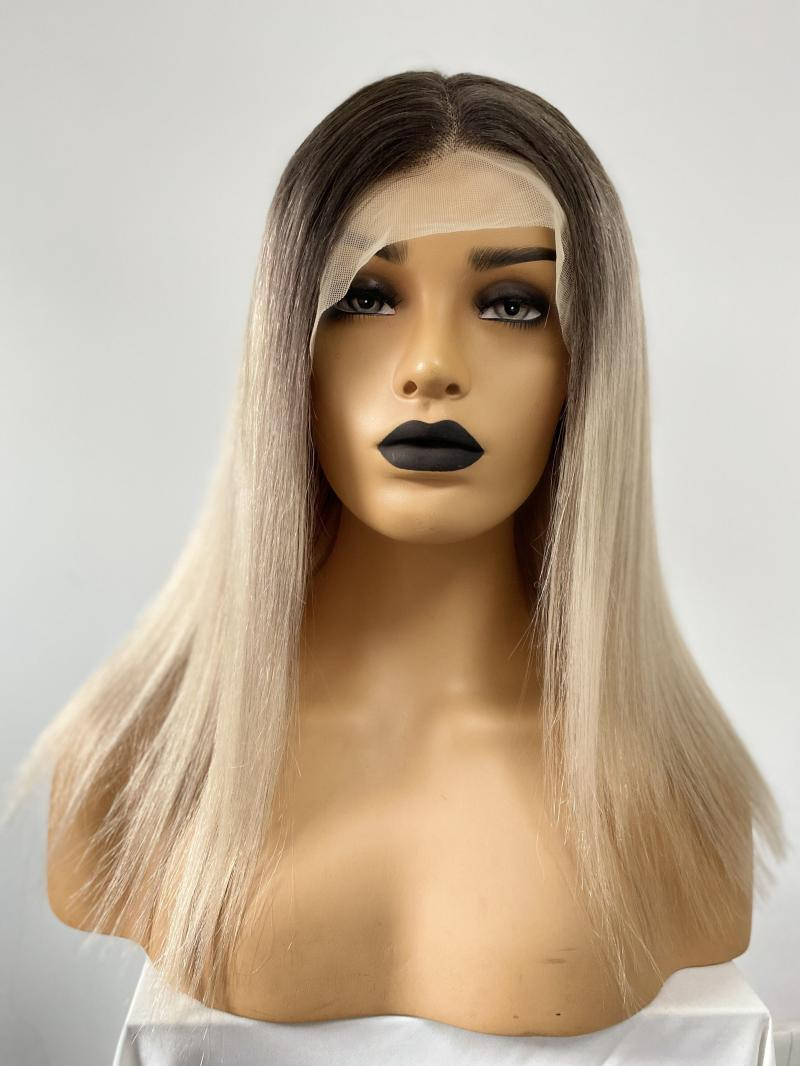 """ASH BLONDE WITH HIGHLIGHT 4"""" DEEP PARTING LACE FRONT HUMAN HAIR WIG"""