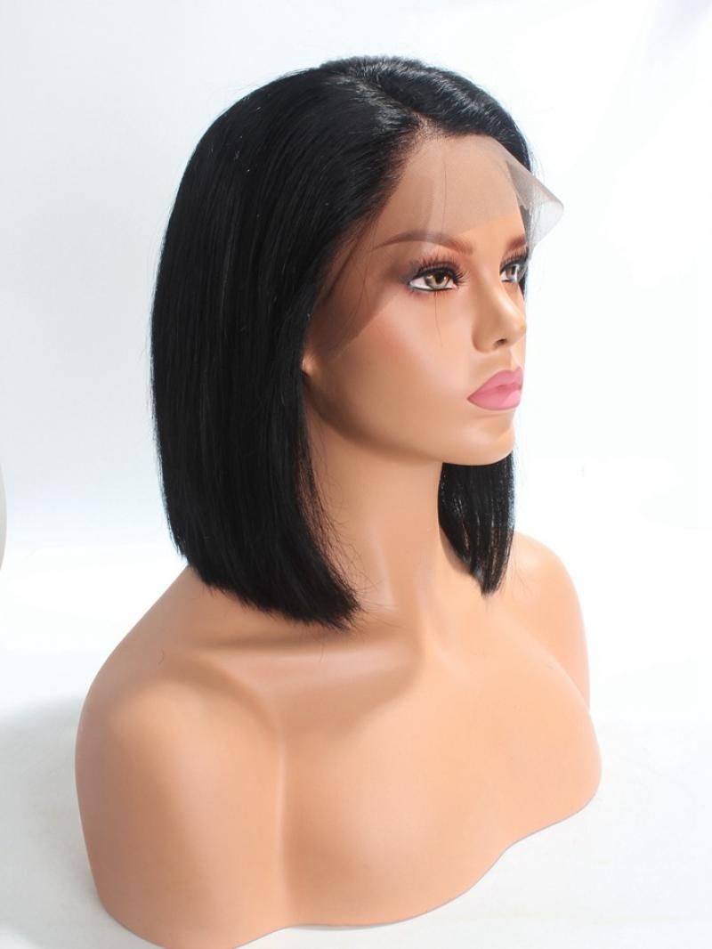"""3"""" Parting Lace Front Bob Cut Pre-plucked Hairline Human Hair Wig"""