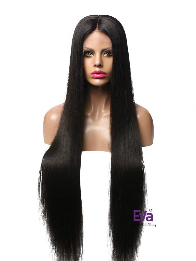 """28"""" 180% Natural Black Silky Straight Human Hair Full Lace Wig With Petite Size"""