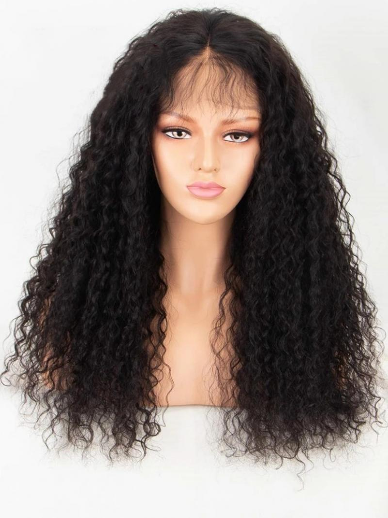 """10""""-22"""" CURLY HAIRWITH BANGS 5*5 UNDETECTABLE HD LACE CLOSURE WIG"""