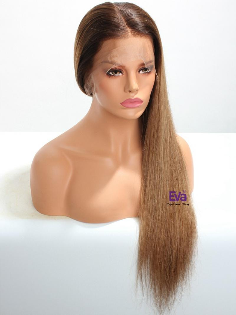 Natural Pre-plucked Ready to Wear #3 T #6 Silky Long Straight Full Lace Human Hair Wig