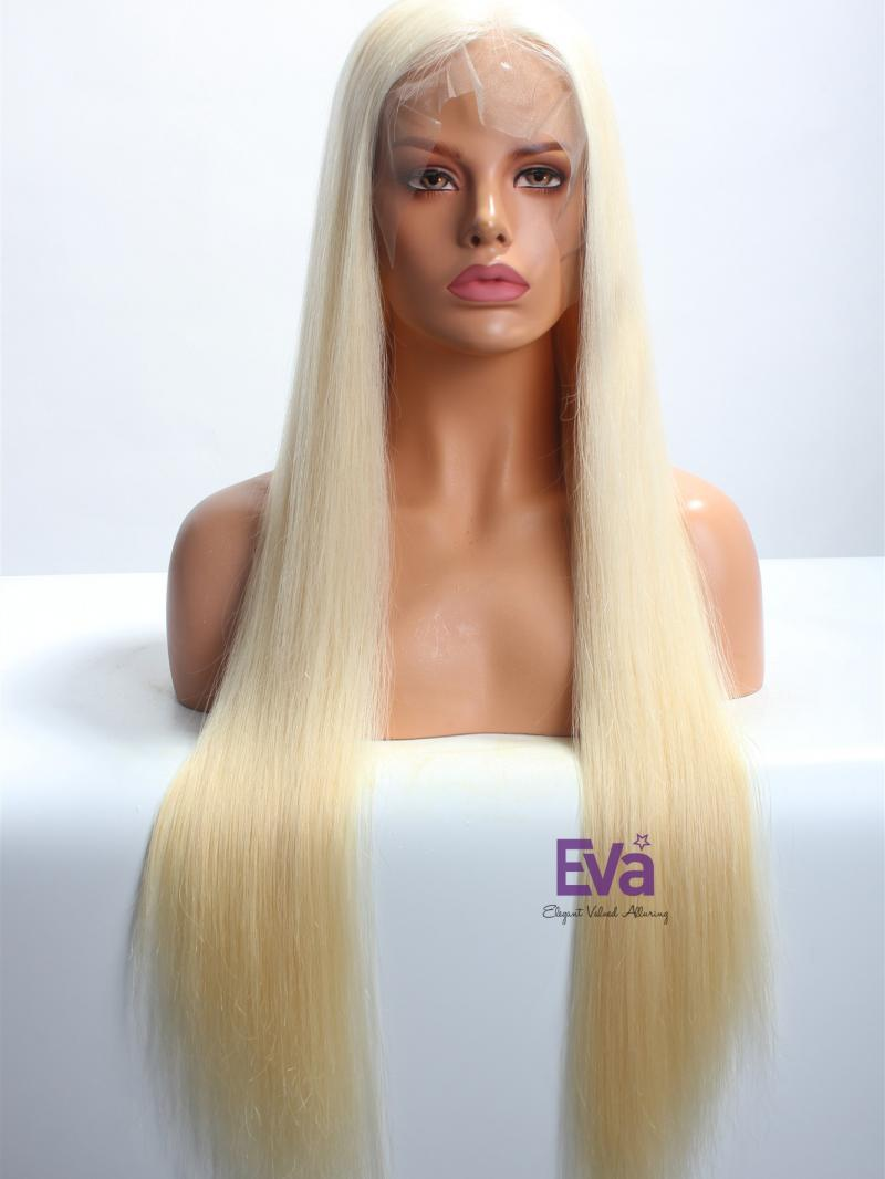 """26"""" Silky Straight #613 Blonde Virgin Hair 6"""" Parting Lace Front Wig"""