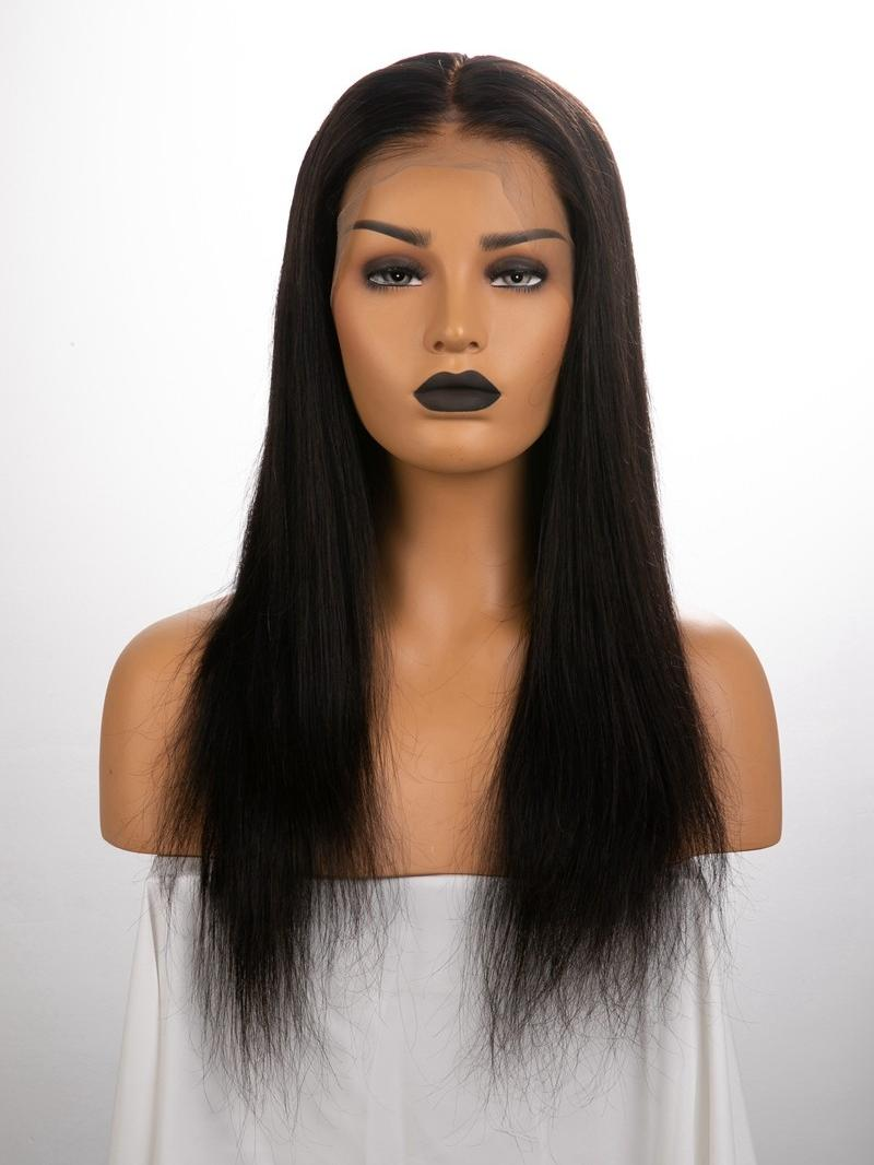 "18"" 150% Natural Black Silky Straight Human Hair 6"" Lace Front Wig With Fake Scalp - Petite Size"
