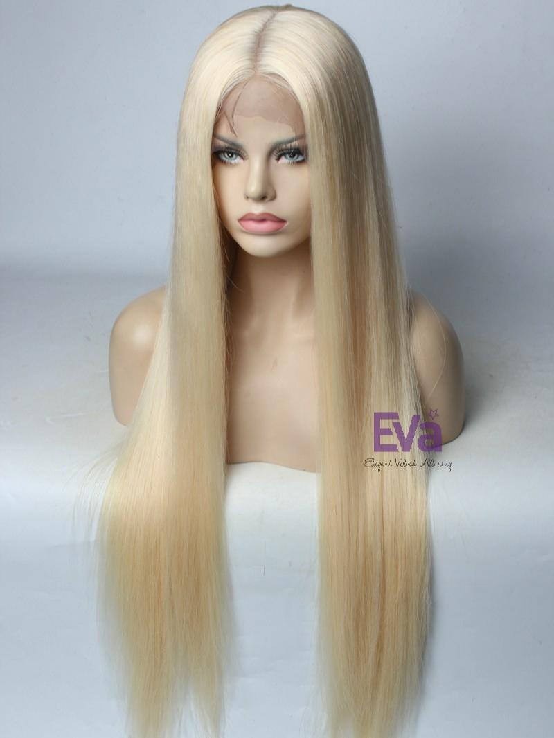 Platinum Blonde Full Lace Virgin Human Hair Wig 16