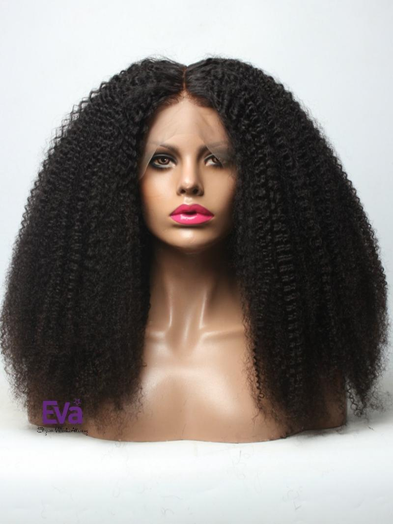 "18"" NATURAL COILY PETITE SIZE FULL LACE WIG WITH 4*4 SILK TOP"