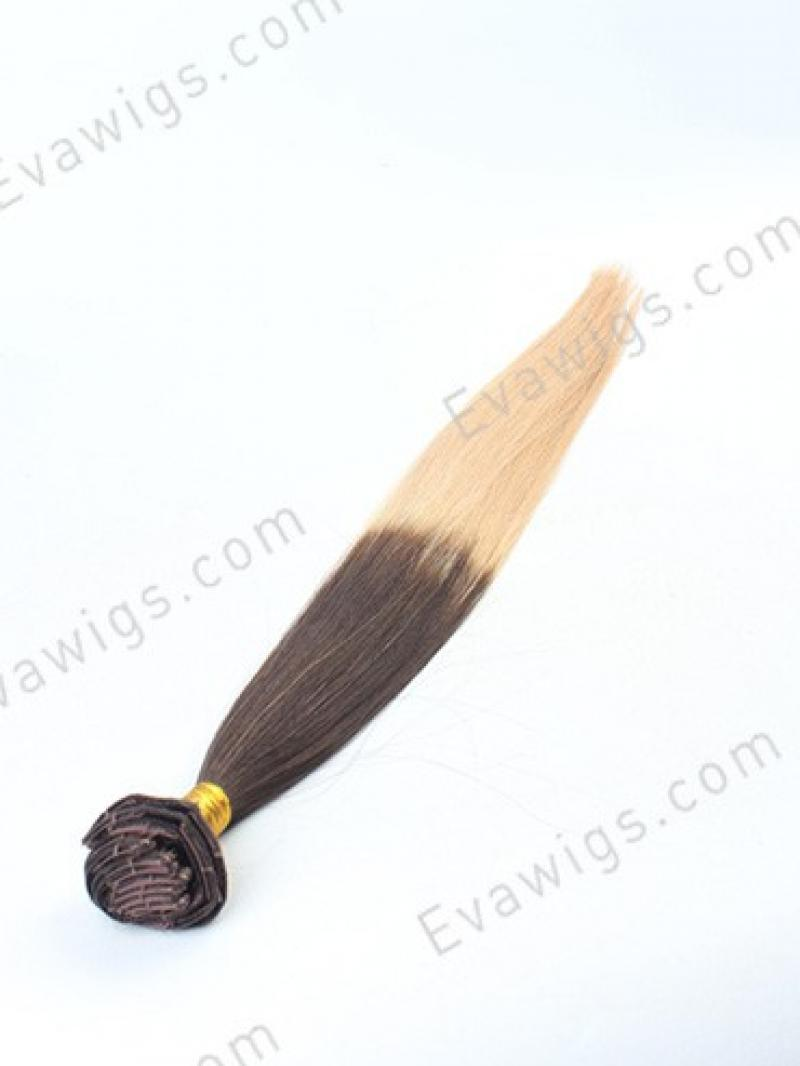 #4 Medium Reddish Brown T #18 Beige Ash Blonde Brazilian Virgin Human Hair Clip