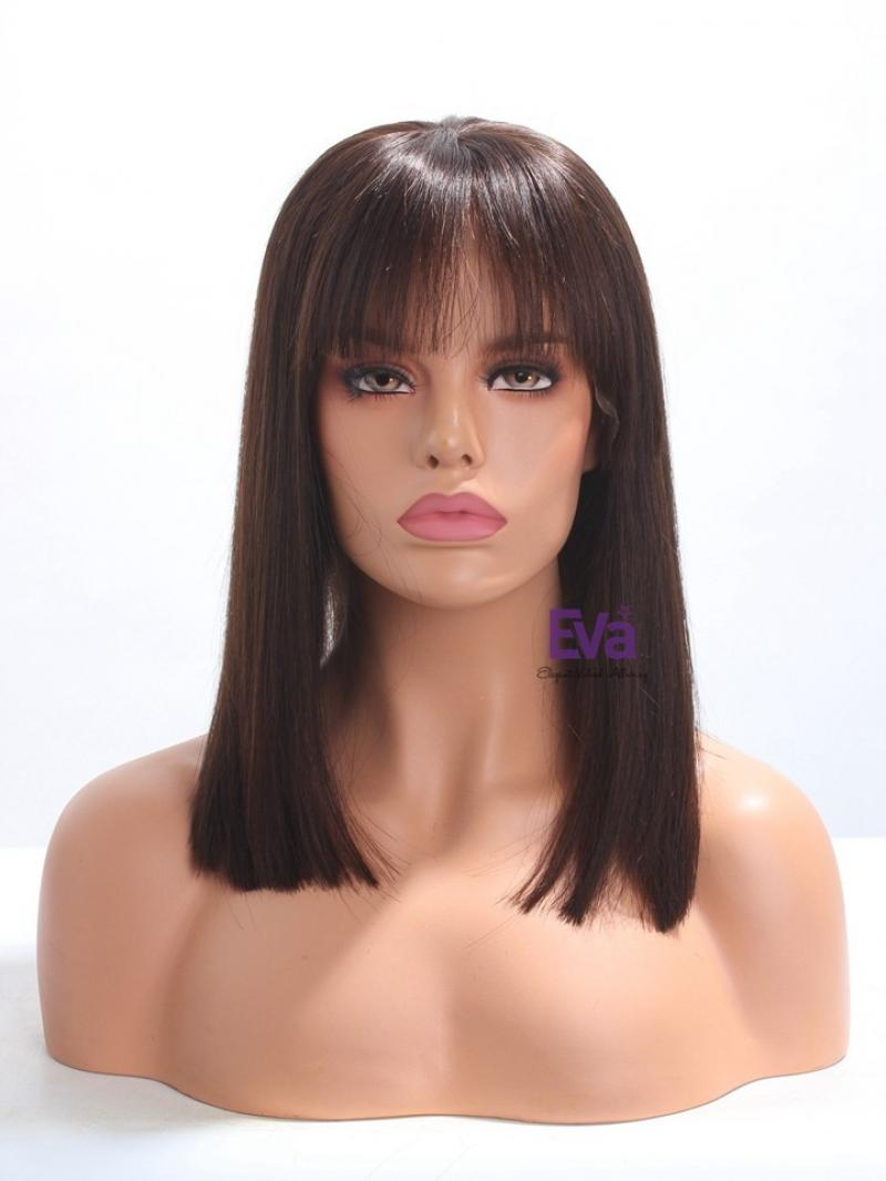 Ready to Ship Darkest Brown Bob Virgin Hair Full Lace Wig With Bangs